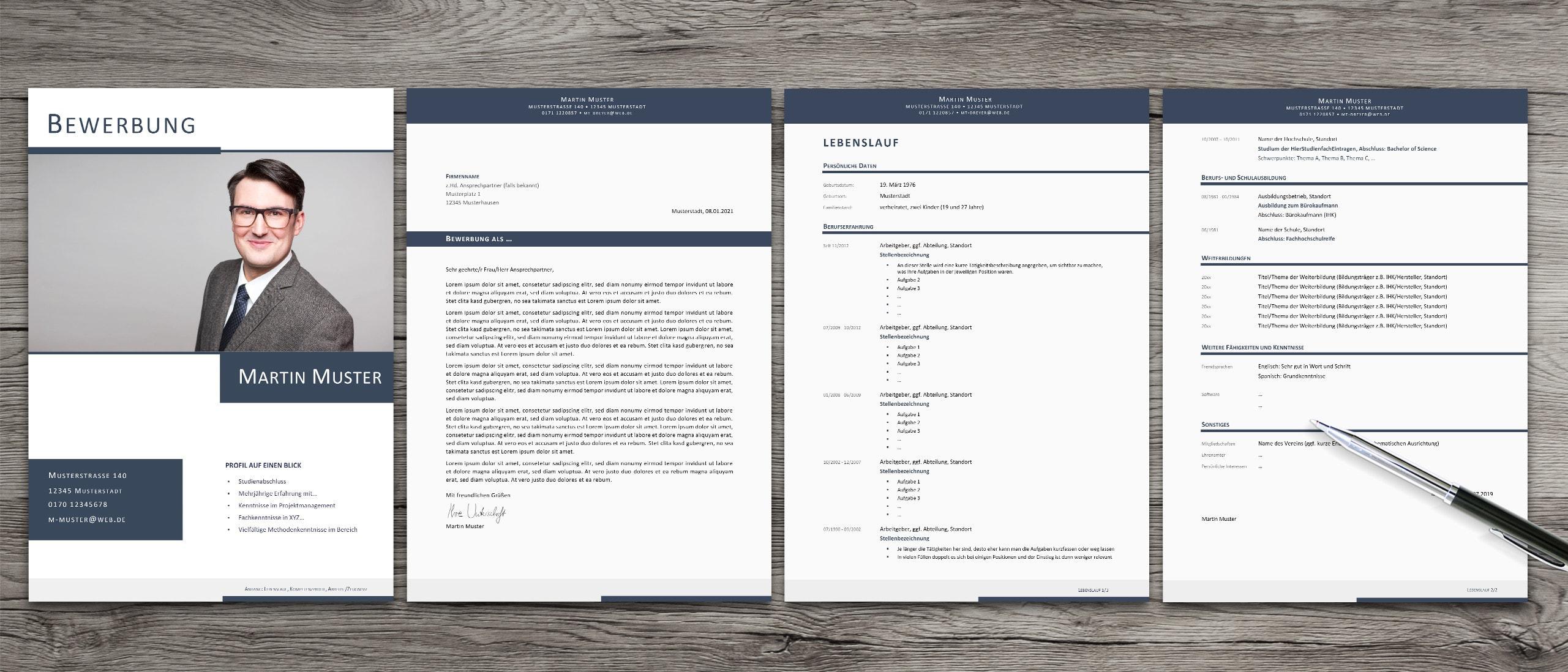 Bewerbungsdesigns mit Kurzprofil aus der Eindrucksschmiede Bochum